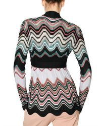 M Missoni | Multicolor Zig Zag Knit Belted Cardigan Sweater | Lyst