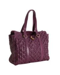 Marc Jacobs | Purple Quilted Python Embossed Leather Leon Tote | Lyst