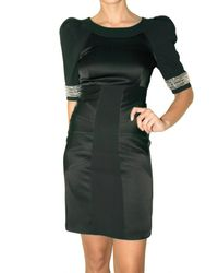 Matthew Williamson | Black Jeweled Cuff Crepe Tailor Dress | Lyst