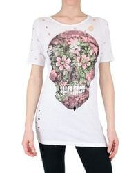No Name | White Destroyed Skull Print Jersey T-shirt | Lyst