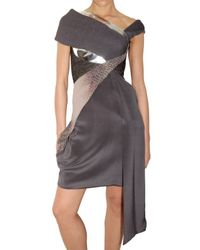 Peter Pilotto | Gray Shawl Multi Fabric Dress | Lyst