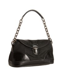 Prada | Black Nylon Gabardine and Calfskin Pushlock Chain Shoulder Bag | Lyst
