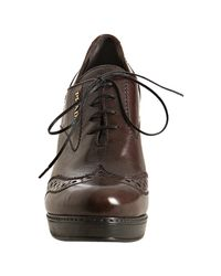 Prada - Sport Brown Tooled Leather Oxford Pumps - Lyst