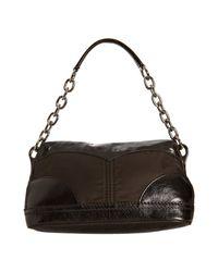 Prada | Black Ebony Nylon and Calfskin Pushlock Shoulder Bag | Lyst