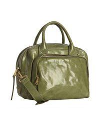 Prada | Edera Green Vitello Shine Logo Zip Top Satchel | Lyst