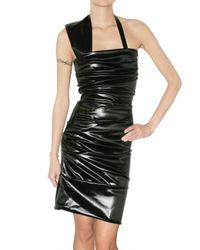 Preen By Thornton Bregazzi | Black Pleated Oil Latex Dress | Lyst