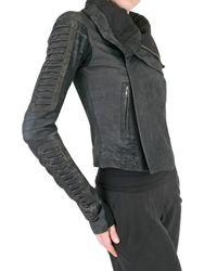 Rick Owens | Black Corduroy Biker Blistered Leather Jacket | Lyst