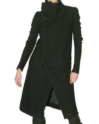Rick Owens | Black Long Pipe Sleeve Coat | Lyst
