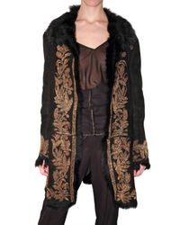 Roberto Cavalli | Black Embroidered Shearling Coat | Lyst