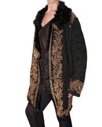 Roberto Cavalli - Black Embroidered Shearling Coat - Lyst