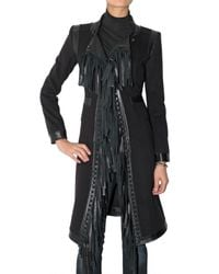 Roberto Cavalli | Black Fringed Cashmere and Wool-blend Coat | Lyst