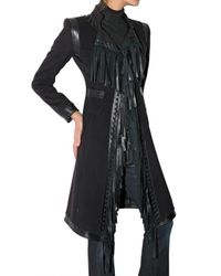 Roberto Cavalli - Black Fringed Cashmere and Wool-blend Coat - Lyst