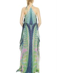 Roberto Cavalli   Blue Acquarius Print Long Silk Chiffon Dress   Lyst