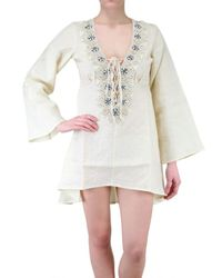 Vicedomini - White Embroidered Linen Kaftan Shirt - Lyst