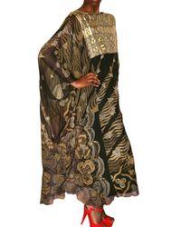 Zandra Rhodes - Black Woven Patchwork Chiffon Kaftan Dress - Lyst