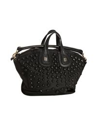 Givenchy | Black Nylon Nightingale Medium Studded Top Handle Bag | Lyst