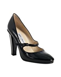 Jimmy Choo | Black Textured Patent Kindle Mary-jane Pumps | Lyst
