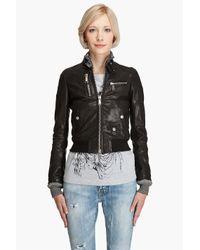 DSquared² - Black Leather Bomber Jacket - Lyst
