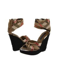 Burberry | Brown Soft Knot Check Platform Sandals | Lyst