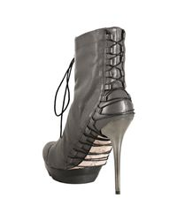 Mea Shadow - Gray Grey Leather Femina Lace Up Platform Boots - Lyst
