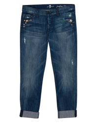 7 For All Mankind | Blue Josefina Studded Jeans | Lyst