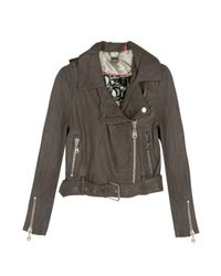 Doma Leather | Gray Cropped Leather Moto Jacket | Lyst