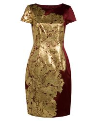 Jason Wu | Metallic Silk Leaf-print Sheath Dress | Lyst