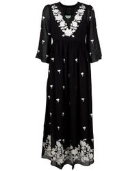 Leaves Of Grass | Black Arabella Full Length Embroidery Kaftan | Lyst