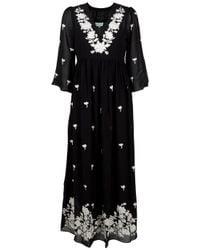 Leaves Of Grass | Black Arabella Full Length Embroidery Kaftan | Lyst