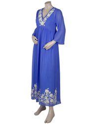 Leaves Of Grass - Blue Arabella Full Length Embroidery Kaftan - Lyst