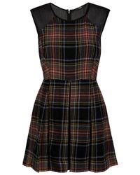 Markus Lupfer | Black Pleated Tartan Dress | Lyst