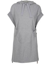 Y-3 | Gray Hooded Terry Dress | Lyst