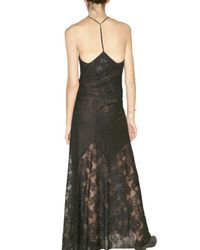 American Retro - Black Lace and Perforated Long Cotton Dress - Lyst