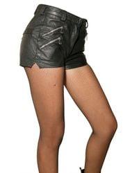 Balmain   Black Leather Shorts   Lyst