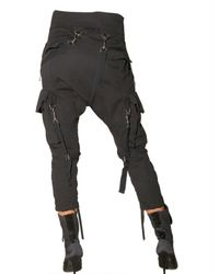 Balmain | Black Low Rise Washed Cotton Cargo Trousers | Lyst