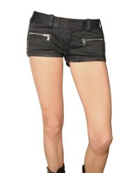 Balmain - Black Safety Pin Side Drill Cotton Shorts - Lyst