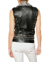 Balmain - Black Studded Leather Vest - Lyst