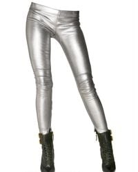 Balmain | Metallic Leather Zip Up Leggings | Lyst