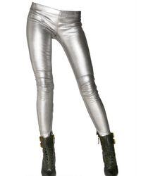 Balmain | Metallic Leather Zip Up Leggings | Lyst