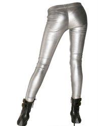 Balmain - Metallic Leather Zip Up Leggings - Lyst