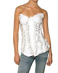 Balmain | White Leather Bustier Top | Lyst