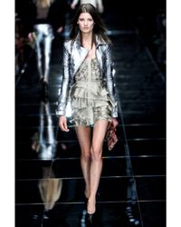 Burberry Prorsum - Metallic Silk Satin Chiffon and Leather Dress - Lyst