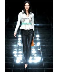 Burberry Prorsum - White Quilted Biker Leather Jacket - Lyst