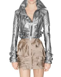 Burberry Prorsum | Metallic Quilted Leather Biker Jacket | Lyst