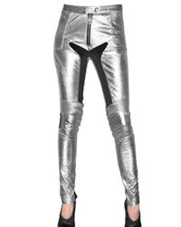 Burberry Prorsum | Metallic Leather and Lycra Trousers | Lyst