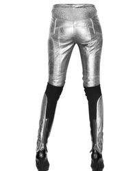 Burberry Prorsum - Metallic Leather and Lycra Trousers - Lyst