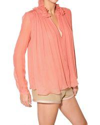 Chloé | Pink Ruffled Silk-chiffon Blouse | Lyst