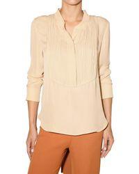 Chloé | Natural Pleated Plastron Silk Charmeuse Shirt | Lyst