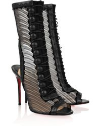 Christian Louboutin | Black Attention 100 Cutout Mesh and Leather Boots | Lyst