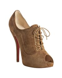 Christian Louboutin | Brown Cognac Suede Lady Derby 120 Lace Up Peep Toe Booties | Lyst